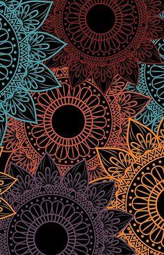 'Floral Pattern / Neon' iPhone Case by Echo Store - floral pattems Mandala Mural, Mandala Wallpaper, Mandala Drawing, Mandala Painting, Pattern Wallpaper, Wallpaper Backgrounds, Wallpaper Iphone Neon, Aztec Wallpaper, Motif Floral