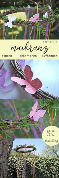 Besonders zauberhafte Frühlingdeko für Terrasse und Garten selber machen: Gemeinsam einen bunten Maikranz binden und aufhängen.