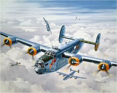 Under Attack- Tall, Torrid and Texas, by Roy Grinnell (B-24 Liberator)... My cousin's B-24...