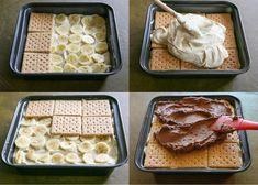 Budeme potřebovat: 2 bal. vanilkový pudink 700 ml studeného mléka 1/3 šálku arašídového másla 240 ml smetany na šlehání 27 ks máslových sušenek 3 banány 60 g čokolády 2 šálky moučkového cukru 1/4 šálku másla 1 lžička vanilkové esence 2 lžíce mléka Postup přípravy V malém množství mléka rozmícháme pudinkové prášky. Zbylé mléko dáme ohřát. …