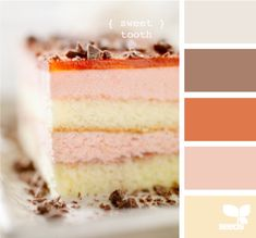 Dessert meets desert in this warm palette. #combo #colours #colors #palette #decor #design #scrapbooking #pink #orange #brown #peach #grey