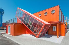 Cargo Container Buildings In Shipping Container Architecture Is The Future Of Urban Living Shipping Container Workshop, Prefab Shipping Container Homes, Shipping Container Office, Shipping Containers, Shipping Container Design, Shipping Crates, Building A Container Home, Container Buildings, Container Architecture