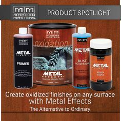Well I sort of fell in love with the Modern Masters Metal Effects Kit. Good because Modern Masters is giving some away. In fact These amazing products have led me to create a w. Painting Tips, Painting Techniques, Furniture Projects, Diy Projects, Diy Furniture, Modern Masters, Paint Effects, Paint Finishes, Metal Finishes