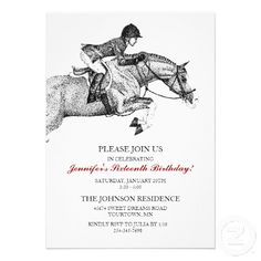 Classic Hunter Jumper Pony Birthday Party Invitation for the horse lover! A great equestrian invitation that can be used for any occasion - even a barn party for people who love horses!