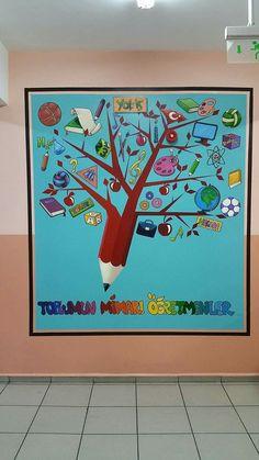Öğretmen Classroom Wall Decor, Math Classroom Decorations, Classroom Charts, Classroom Board, Classroom Walls, School Decorations, School Classroom, Teacher Gifts From Class, School Board Decoration