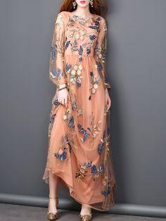 #AdoreWe StyleWe Maxi Dresses - MOOERKERR Balloon Sleeve Embroidered A-line Casual Crew Neck Maxi Dress - AdoreWe.com