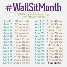 Wall sits for April Fitness Challenge