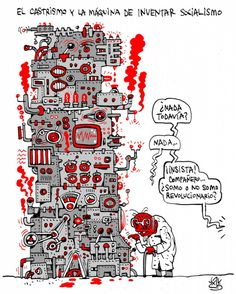 'La máquina del #socialismo', viñeta de #AlenLauzán en DIARIO DE #CUBA  #HUMOR