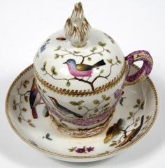 I need a set of these! A Berlin porcelain chocolate cup cover and stand
