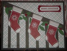 I made this card using the Stitched Stockings stamp, the Stocking Builder punch, and the garland was created using Little Leaves Sizzlits.