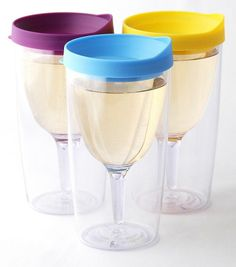 SET 3 Purple Yellow Lt Blue Lid Vino2Go Plastic Tumbler Adult Wine Sippy Cup Mug