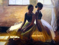 """Two Dancers"" Oil on Canvas, 36"" x 48"" by artist Carol MacConnell. See her portfolio by visiting www.ArtsyShark.com"