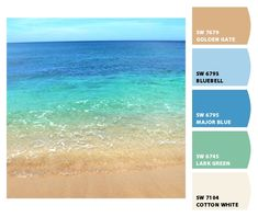 Instantly turn any picture into a palette with ColorSnap, created for you by Sherwin-Williams. I like these colors for a seaside cottage. Colour Pallette, Colour Schemes, Color Combos, Beach Color Schemes, Beach Color Palettes, Beachy Colors, Coastal Colors, Room Colors, House Colors