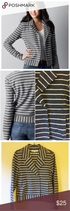 Host Pick 🎉 LOFT Striped French Terry Moto Jacket Ann Taylor LOFT Striped French Terry Moto Jacket --- size small --- Moto style jacket in soft French terry --- 6 snap closure --- 100% cotton --- this jacket looks great open or closed --- like new condition --- no signs of wear --- thank you for visiting my boutique LOFT Jackets & Coats