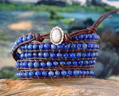 Lapis Lazuli Beaded 5X Leather Wrap Bracelet, 5X wrap, blue gemstone bracelet. $75.00, via Etsy.