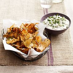 These Sunchoke Chips with Warm Blue-Cheese Dip are full of deep, rich flavors AND are perfect for cold-weather entertaining.