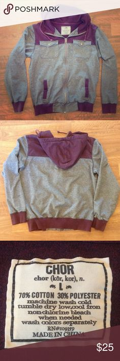 Chor Men's Size Large Hooded Sweatshirt/Hoodie Plum/Heather gray men's large Chor zip hoodie. Mint condition. Smoke-free home. Shirts Sweatshirts & Hoodies