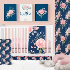 69 Ideas baby girl bedding sets coral navy nursery for 2019 Baby Girl Nursery Bedding, Girls Bedding Sets, Crib Sets, Baby Room, Babies Nursery, Pépinières Rose, My Bebe, Girl Cribs, Baby Cribs