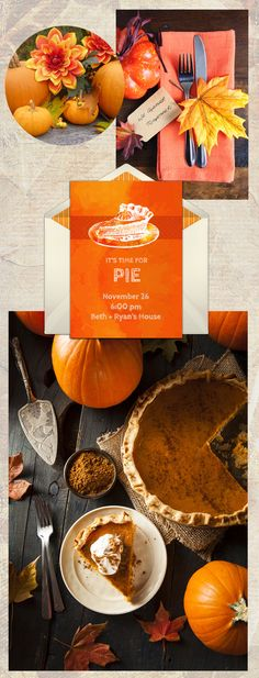 Thanksgiving dinner inspiration, and a gorgeous FREE Thanksgiving party invitation. We love this design for inviting friends over for Thanksgiving dinner or dessert.
