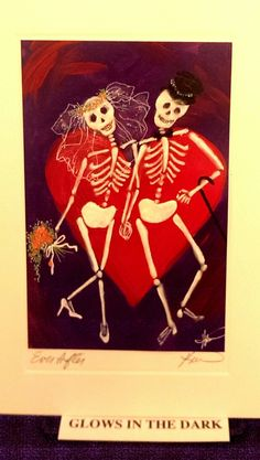Glow-in-the-dark skeletons by local artist Karen Bagnard.