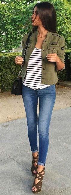 #fall #street #style | Khaki + Stripes + Denim