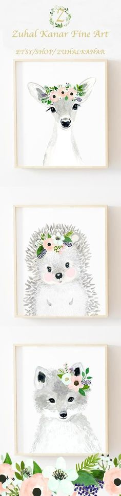 Flowery cute animals wall prints