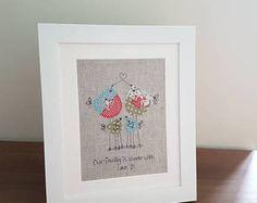 Original textile art, textile picture, family bird picture, applique art, handmade, free motion, machine embroidery, gift for family, unique