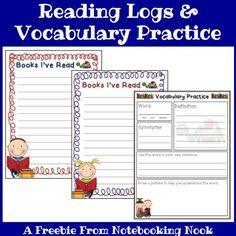 Free Reading Logs & Vocabulary Practice Printables