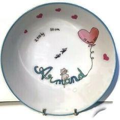 Assiette ronde et creuse de porcelaine, pour bébé ou jeune enfant Bleu Celadon, Plates, Tableware, Young Children, Plate, Porcelain, Licence Plates, Dishes, Dinnerware