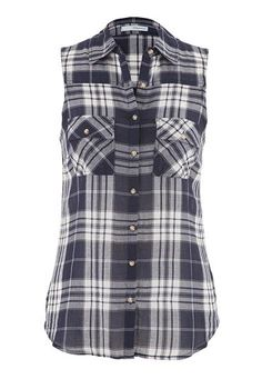 Wanting something like this! Flannel or plaid button down tank.