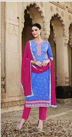 2 Ethnic Indian Traditional Embroidered Cotton Silk Brasso Shalwar Kameez Dress #Unbranded #IndianStraightsalwarSuit