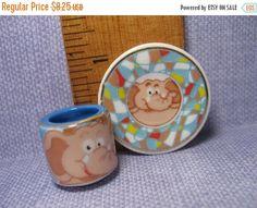 SALE Tiny ELEPHANT Mug & Plate Platter China Dish Dishes Cup