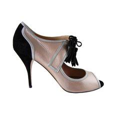 1stdibs | VALENTINO shoe rose gold silver black retro styling 9 NEW