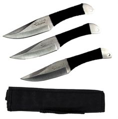 This set of three Skyhawk throwing knives are long.