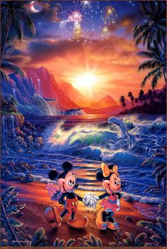 Bid to own this limited edition piece entitled Seaside Romance and inspired by Disney mainstays Mickey and Minnie Mouse. The piece is signed by art. Mickey Mouse Pictures, Mickey Mouse Art, Mickey Mouse Wallpaper, Disney Phone Wallpaper, Mickey Mouse And Friends, Walt Disney, Disney Love, Disney Frozen, Disney Artwork