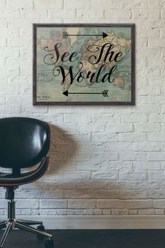 See The World Travel Poster Vintage World Map Poster by PartyInked