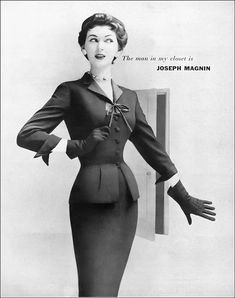 Dovima in a smart suit from the Gene Shelly collection designed exclusively for I. Harpers Bazaar, Peplum Dress, Vintage Fashion, Suits, Model, Collection, War, Dresses, Design