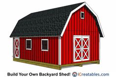 Large Gambrel Shed Plans, 16x24!