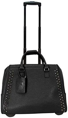 Cabrelli Rocket Stud 15 Inch Laptop Rollerbrief, Black, One Size Rolling Laptop Bag, Rolling Briefcase, Rolling Bag, Laptop Tote Bag, Laptop Briefcase, Trolley Bags, Work Bags, Computer Bags, Luggage Store