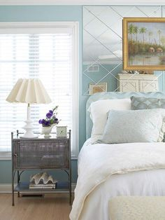 Luxe Color Scheme  Steel Blue+ Silver+ Pearl  Serene blue goes glam with accents of silver gray and pearl white. The palette, a subtle nod to the ocean, evokes a sophisticated feel, especially when sumptuous fabrics and elegant details emanate throughout the room.  For my bedroom