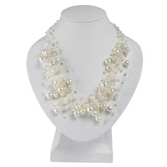 Hepburn 14-Strand Necklace with White Freshwater Pearls, Adjustable