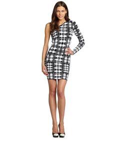 BCBGMAXAZRIA black and white 'Jordan' ikat print stretchy one sleeve shoulder dress
