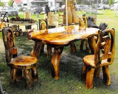 chainsaw carved table and chairs