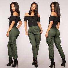 Outstanding fashion trends are readily available on our site. look at this and you wont be sorry you did. Green Fashion, Look Fashion, Cargo Pants Outfit, Casual Pants, Fashion Pants, Fashion Outfits, Fashion Trends, Overalls Women, Pants For Women