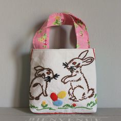 Bag vintage embroidery bunnies by roxycreations on Etsy
