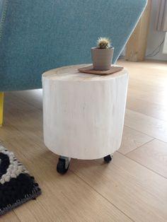 DIY bijzet tafeltje van boomstam