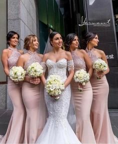 Mermaid Halter Neckline Open Back Blush Lace Bridesmaid Dress