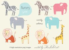 CLIP ART - Nursery Zoo - for commercial and personal use. via Etsy. Flash Templates, Clip Art, Blog Design, Design Ideas, Animals Images, Nursery Art, Animal Nursery, Nursery Themes, Wall Art Designs