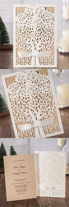 JOFANZA Rustic Laser Cut Wedding Invitations set of 50pcs Ivory Invitation Cards with Kraft Insert for Engagement Baby Shower Birthday Quinceanera (set of 50pcs) CW6176
