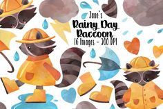 Watercolor Rainy Day Clipart By Digitalartsi